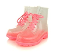 free shipping    Korean women's crystal clear transparent uppers boots  rainboots