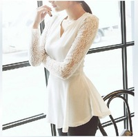 2013 lace long-sleeve chiffon shirt slim V-neck top medium-long elegant lace shirt
