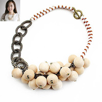 Mix Order $10(Mix Items)Korean Fashion Women Sweet OL Style Wooden Ball Beads Cute Choker Necklace Flower HQ Wholesale Jewelry