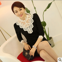2013 autumn lace crochet cutout turtleneck slim long-sleeve T-shirt female top