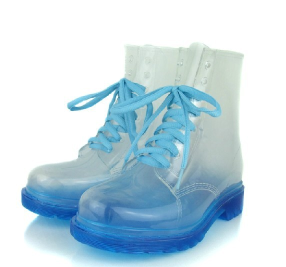Free shipping 2013 Korean women's crystal clear transparent uppers boots rainboots(China (Mainland))