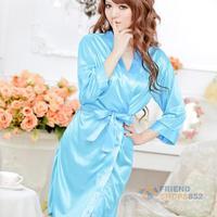 #F9s Free shipping Sexy Women Lingerie Satin Open Front Sleepwear Nightdress Pajamas Blue