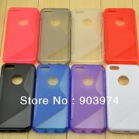 Free Shipping Anti-Skid Design Tpu Case, S Line Soft TPU Gel Case For Iphone 5c Wholesale