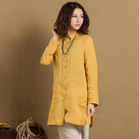 Clothing original design yellow linen personalized plate buttons long design shirt