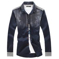 HOT SALE 2013 autumn male long-sleeve shirt slim male denim shirt plus size coat FREE SHIPPING 3 Color Szie: M-5XL PLUS SIZE