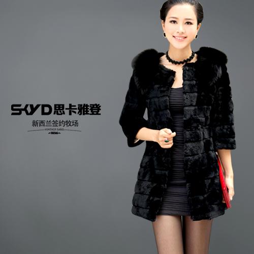 2012 rex rabbit hair long design elegant type genuine leather fur Women vest outerwear(China (Mainland))