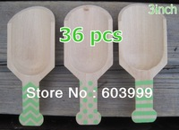 """36 x3"""" Wood Wooden Scoops with Green Polka dots Stripe and Chevron Print , Wooden Candy Buffet Cutlery and Scoops table supplies"""