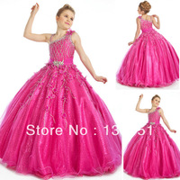 pink a-line girls puffy dresses pageant gowns irregular strap tiered peach floor length long diamond crystal organza prom dress