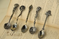 Zakka Vintage Retro Carved Antique Finishing Coffee Spoon Small Dessert  Icecream Palace Style Tableware Freeshipping