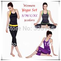 Brand New Women Yoga Clothing Set 5Colors,  Slim Clothes Suit Capri & Vest With Chest Pad For Fitness/Sport/Gym/Dance   #JM06780