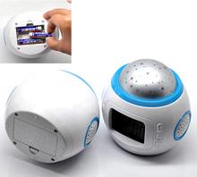 "Home & Garden & Baby Room Sky Star Night Light Projector Lamp Bedroom Alarm Digital Clock W/music 10.3x10.3cm(4""x4"")(China (Mainland))"