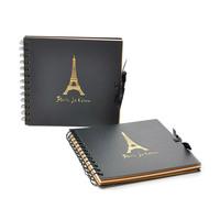 "Black Scrapbook Paper Photo Album DIY Gift 18.5cmx17.5cm(7 2/8""x6 7/8"")"