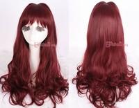 60cm Kitten burgundy wave cosplay BEST halloween sexy women party hair wig zy39