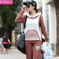 Women's 2013 autumn sweatshirt set female thickening fleece hooded casual sports set