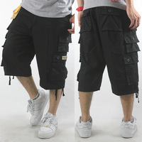 Male plus size hiphop capris hip-hop hiphop capris loose casual multi-pocket overalls black