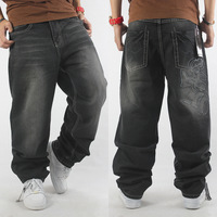 Comfortable fabric male hiphop jeans hiphop hip-hop plus size water wash pleated loose pants skateboard
