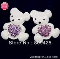 Free shipping! mix order $15 rhinestone lovely bear for alloy flatback 6pcs for women diy alloy phone