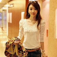 Mushroom juniors clothing slim lace basic shirt 2013 autumn clothes school wear