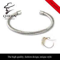 No min. order 1 pcs accept, high quality simple fashion steel line braided bangle stainless steel women/men bangles QR-90