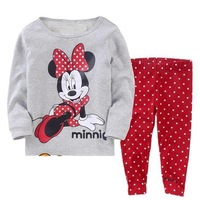 2012 New Autumn minnie mouse gray Baby Pajamas 2PCS Set Long T Shirt And Pant Free Shipping Kids Clothes Sleepwear Baby clothes