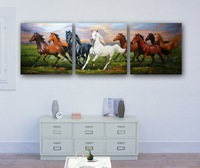 Wholesale Frameless Digital Oil Painting of Steeds Horse Pentium as Wall Decor Eco-friendly 3pcs/set