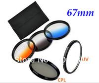 Free shipping 67mm UV+CPL+Graduated Grey Orange Blue Lens Filter Kit for 67mm Canon Nikon Sony Pentax