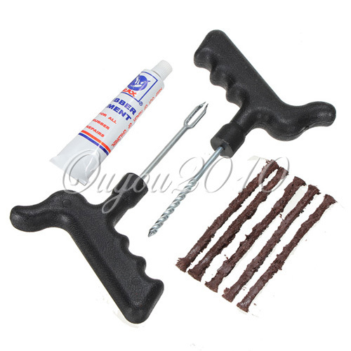 Car Bike Auto Accessories Tubeless Tire Tyre Puncture Plug Repair Cement Tool Kit Safety 5 Rubber Strips Free Shipping(China (Mainland))