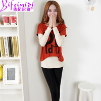 Free Shipping 2013 autumn women's letter o-neck long-sleeve T-shirt 8315 twinset  yfnd