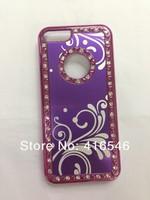 1pcsXAluminium Bling Diamond Crystal Chrome Hard Case Cover for Apple iPhone 5C Back Phone Cover+Screen film