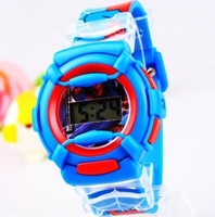 Hot Sell Blue 3D Cartoon Spiderman Silicone Watch Child Kids Boys Students Sports Digital Quartz Wristwatches Christmas Gift