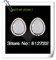 New! Vnistar trendy 18k real gold plated teardrop wedding stud earrings, bride earings, 4 pairs wholesale, VE346
