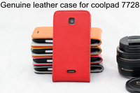 New 100% Genuine leather case for coolpad 7728 Flip leather cover shell for coolpad 7728