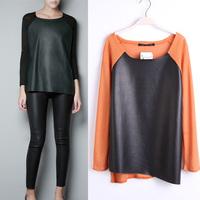 Big Promotin! Fashion women's cmnc patchwork sweater irregular sweep PU patchwork thin shirt sweater 6a1275543779