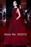 2014 Winter Elie Saab Couture Dark Red Burgundy Satin Beads Applique Elie Saab Dress Evening Dress Prom Dresses Gown