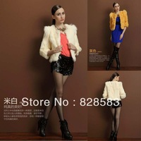 Real fur 2013 New Fashion Winter&Autumn whole leather rabbit fur jacket Three Quarter Sleeve Coat Free Shipping