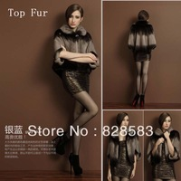 2013 New Fashion Natural Mink Top Fur Short coat The Lapel Three Quarter Sleeve Jackets Free Shipping!