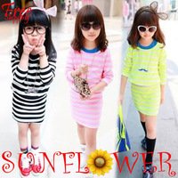 2013 autumn new fashion model dress colorfull clothing girl stripe long-sleeve waist dress with vest inside free shipping