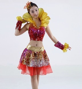 Stage costumes female cheerleaders skirt square dance costumes sequined skirt clothing(China (Mainland))