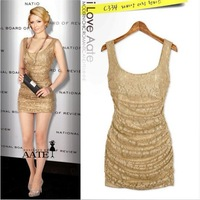 2013 New Fashion Sexy Lace Party Night Culbbing Tunic Solid  Bodycon Mini  Dress Free Shipping