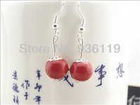 2013 hot sell free shipping red beads party dangler ceramic drop earring novelty ceramic jewellery