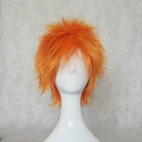 Cosplay wig - BLEACH Cosplay Ichigo Kurosaki Orange Party Wig 35cm Short Hair Free Style Hair For Halloween+Free Wig Cap