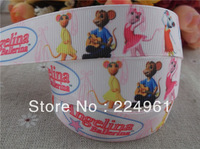 "2013 new arrival 7/8"" (22mm) angelina ballerina printed grosgrain ribbon cartoon ribbon hair accessories 10 yards"