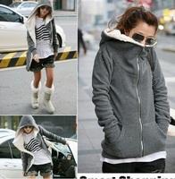 2013 Autumn Korean Style Women Zipper  Hoodies Outwear Thick Velvet  Coat Sweatershirts Gray