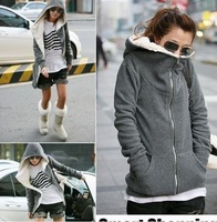 2013 Autumn Korean Style Women Zipper  Hoodies Outwear Thick Velvet  Coat Sweatershirts Gray
