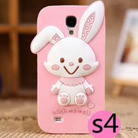 Free shipping Cartoon 3D Cute rabbits Melody girl Soft Silicone back Case for Samsung Galaxy S4 S IV i9500 9500
