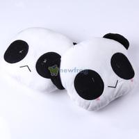 2pcs Cute Panda Car Seat Plush Head Rest Cover Neck Support Cushion Pillow S7NF