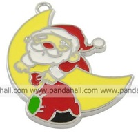 Alloy Pendants,  Enameled,  Christmas Santa Claus,  Red/Yellow,  33.5mm long,  27mm wide,  1.5mm thick,  hole: 2mm