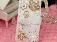 Ballet girl crown diamond around for iphone4/4s/5 open diamond rollover holster