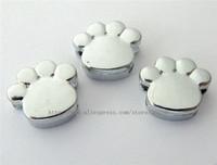100pcs 8mm Foot Print / Paw Chrome Slide Charms Fit Pet Dog Cat Tag Collar Wristband