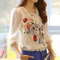 2013 autumn-summer print chiffon shirt o-neck long-sleeve slim female T-shirt female top big size shirts free shipping